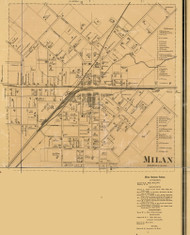 Milan Village with Business Directory, District 13, Tennessee 1877 Old Town Map Custom Print Gibson Co.