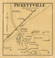Pickettville (Gibson) Village, District 18, Tennessee 1877 Old Town Map Custom Print Gibson Co.