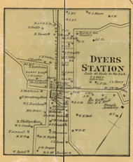 Dyers Station Village, District 21, Tennessee 1877 Old Town Map Custom Print Gibson Co.