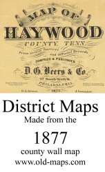 Map Cartouche, Haywood Co. Tennessee 1877 Old Town Map Custom Print