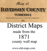Map Cartouche, Davidson Co. Tennessee 1871 Old Town Map Custom Print