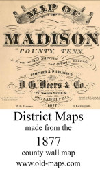 Map Cartouche, Madison Co. Tennessee 1877 Old Town Map Custom Print