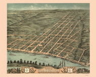 Clarksville, Tennessee 1870 Bird's Eye View