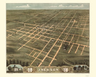 Jackson, Tennessee 1870 Bird's Eye View