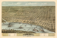 Memphis, Tennessee 1870 Bird's Eye View
