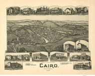 Cairo, West Virginia 1899 Bird's Eye View - Flint