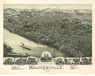 Moundsville, West Virginia 1899 Bird's Eye View