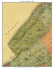District 6 - Bull Run, Tennessee 1895 Old Town Map Custom Print Knox Co.