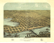 Hastings, Minnesota 1867 Bird's Eye View
