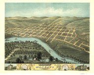 Mankato, Minnesota 1870 Bird's Eye View