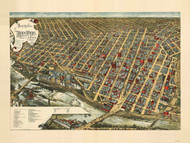 Minneapolis, Minnesota 1891 Bird's Eye View
