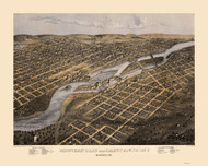 Minneapolis & Saint Anthony, Minnesota 1867 Bird's Eye View