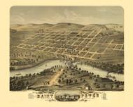 Saint Peter, Minnesota 1870 Bird's Eye View