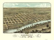 Shakopee, Minnesota 1869 Bird's Eye View