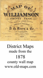 Map Cartouche, Williamson Co. Tennessee 1878 Old Town Map Custom Print