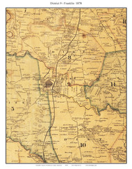 District 9 - Franklin, Tennessee 1878 Old Town Map Custom Print Williamson Co.