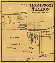 Thompson's Station Village, District 4, Tennesee 1878 Old Town Map Custom Print Williamson Co.