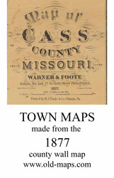 Map Cartouche, Cass Co. Missouri 1877 Old Town Map Custom Print