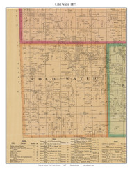 Cold Water - Brosley, Cass Co. Missouri 1877 Old Town Map Custom Print Cass Co.