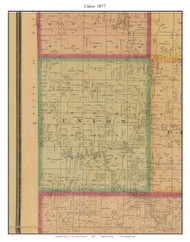Union - West Union, Cass Co. Missouri 1877 Old Town Map Custom Print Cass Co.
