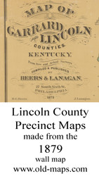 Map Cartouche, Lincoln County, Kentucky 1879 - NOT FOR SALE