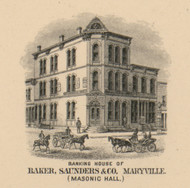 Masonic Hall - Baker, Saunders & Co. Bank, Maryville (Polk), Missouri 1900 Old Town Map Custom Print Nodaway Co.