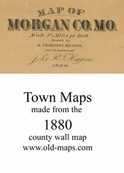 Map Cartouche, Morgan Co. Missouri 1880 Old Town Map Custom Print