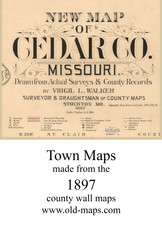 Map Cartouche, Cedar Co. Missouri 1897 Old Town Map Custom Print