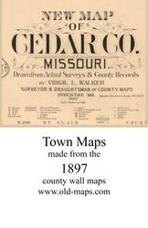 Map Cartouche, Cedar Co. Missouri 1897 Old Town Map Custom Print