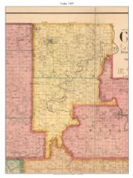 Cedar - Pleasant View - Balm - Lebec, Missouri 1897 Old Town Map Custom Print Cedar Co.