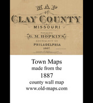 Map Cartouche, Clay Co. Missouri 1887 Old Town Map Custom Print