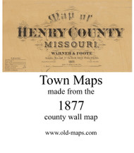 Map Cartouche, Henry Co. Missouri 1877 Old Town Map Custom Print