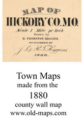 Map Cartouche, Hickory Co. Missouri 1880 Old Town Map Custom Print