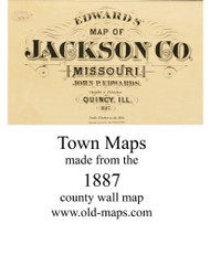 Map Cartouche, Jackson Co. Missouri 1887 Old Town Map Custom Print