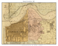 Kansas City - Kaw , Missouri 1887 Old Town Map Custom Print Jackson Co.