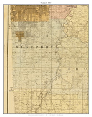 Westport , Missouri 1887 Old Town Map Custom Print Jackson Co.