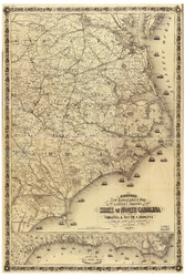 Eastern North Carolina 1863 old map with part of Virginia and South Carolina, 1863 Mississippi River - USA Regionals