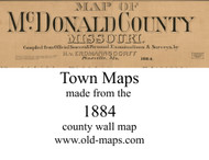 Map Cartouche, McDonald Co. Missouri 1884 Old Town Map Custom Print