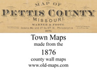 Map Cartouche, Pettis Co. Missouri 1876 Old Town Map Custom Print