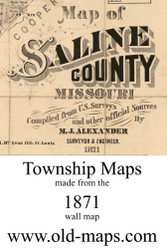 Map Cartouche, Saline Co. Missouri 1871 Old Town Map Custom Print