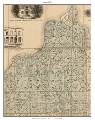Miami, Missouri 1871 Old Town Map Custom Print Saline Co.