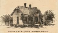 Alexander Residence, Marshall, Missouri 1871 Old Town Map Custom Print Saline Co.