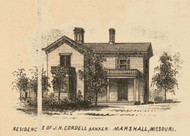 Cordell Residence, Marshall, Missouri 1871 Old Town Map Custom Print Saline Co.