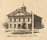 Court House, Marshall, Missouri 1871 Old Town Map Custom Print Saline Co.