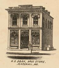 Doak Drug Store, Marshall, Missouri 1871 Old Town Map Custom Print Saline Co.