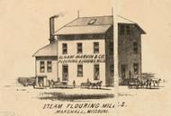 Olham Marvin Flouring Mill, Marshall, Missouri 1871 Old Town Map Custom Print Saline Co.