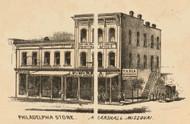 Rhea Philadelphia Store, Marshall, Missouri 1871 Old Town Map Custom Print Saline Co.