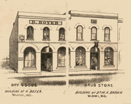 Boyer & Brown Stores, Miami, Missouri 1871 Old Town Map Custom Print Saline Co.