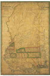 Mississippi 1820 Melish - Old State Map Reprint