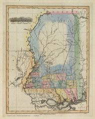 Mississippi 1823 Lucas - Old State Map Reprint